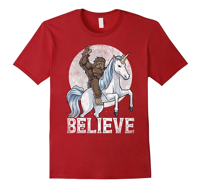 ee2a000d Bigfoot Riding Unicorn T Shirt Funny Sasquatch Vintage Tees-ANZ ...