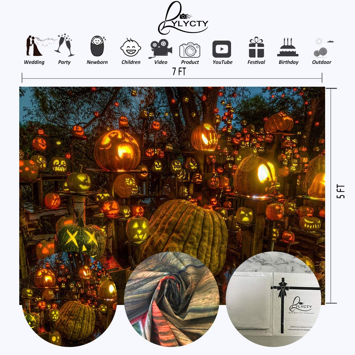 LYLYCTY 7x5ft Halloween Backdrops Forest Pumpkin Lantern Party Photography Background Studio Prop LYZY1023