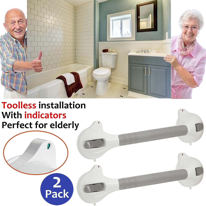 "AmeriLuck Suction Bath Grab Bar 16.5"" with Indicators, Bathroom Shower Handle (White, 2 Pack) 81RsGzQ6mjL"