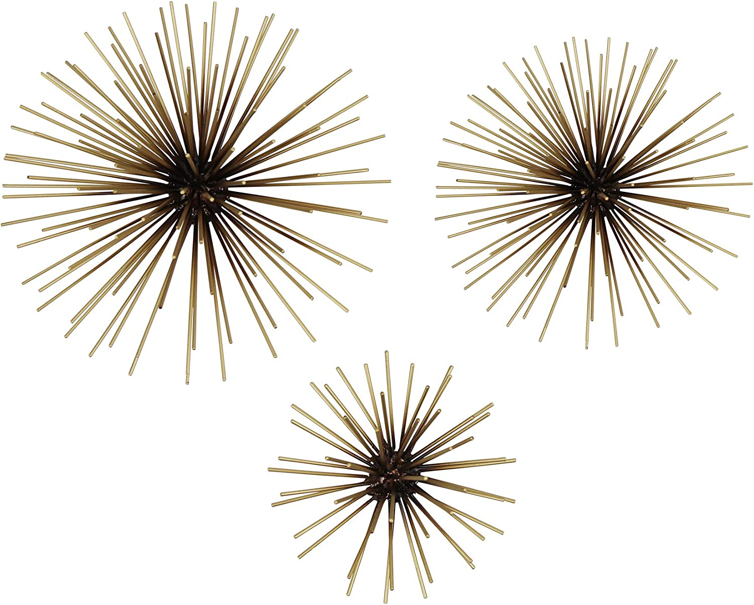 Stratton Home Decor Set of 3 Black Starburst Metal Art Wall Décor, 10 x 3.5 x 10, Antique Gold