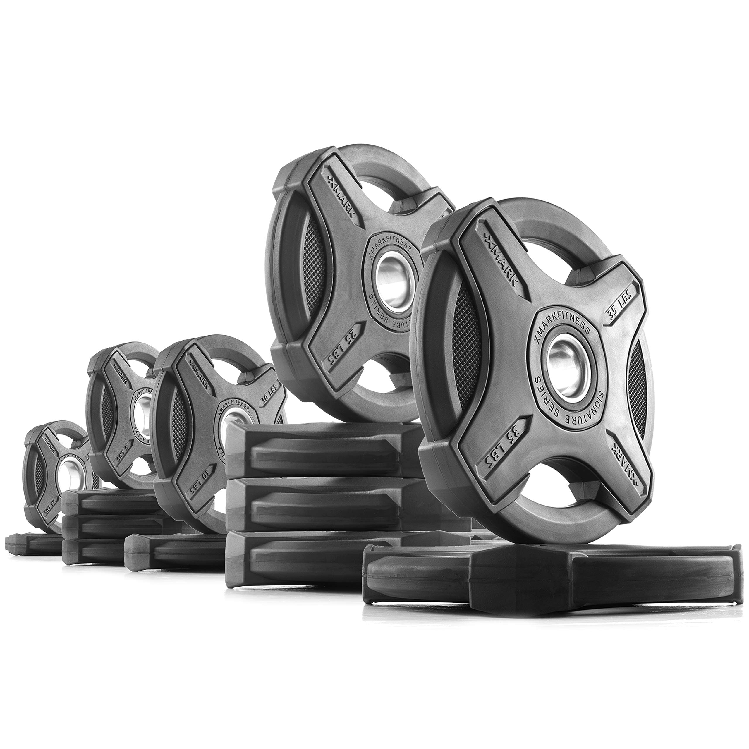 XMark 215 lb Set Signature Plates, One-Year Warranty, Olympic Weight Plates, Cutting-Edge Design