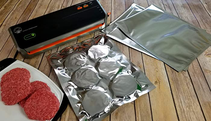"""11""""x14"""" FoodSaver Compatible SteelPak Textured/Embossed Mylar Aluminum Foil Vacuum Sealer Bags – One Gallon Size Hot Seal Commercial Grade Food Sealer Bags for Food Storage and Sous Vide (28, 50 or 500) (50)"""
