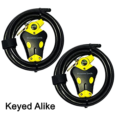 Master Lock - Two 6 ft Python Adjustable Cable Locks Keyed Alike, 8413KACBL-66: Automotive