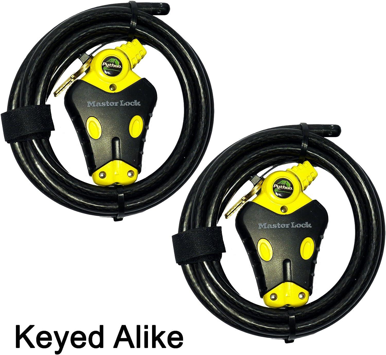 Master Lock - Two 6 ft Python Adjustable Cable Locks Keyed Alike, 8413KACBL-66