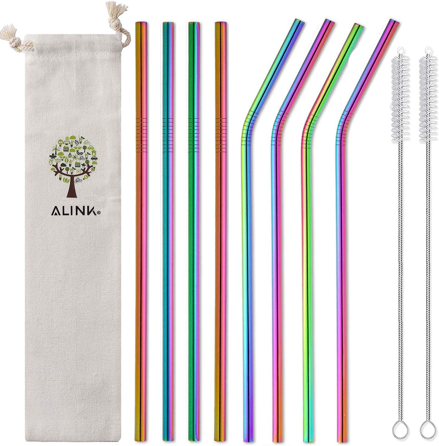 """ALINK 10.5"""" Long Reusable Rainbow Metal Drinking Straws with Silicone Covers, 8-Pack Stainless Steel Straws for 30oz / 20oz Yeti/Rtic Tumblers with Cleaning Brush and Carrying Case"""