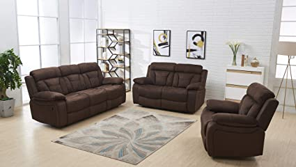 Merveilleux Betsy Furniture 3 PC Microfiber Fabric Recliner Living Room Set In Brown,  Sofa +