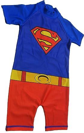 e3734f9e3e Boys Superman swimming costume , bathing suit, sun suit UV protection 50+:  Amazon.co.uk: Clothing