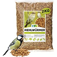 EWL Naturprodukte Gusanos de harina secos (2 kg, equivale a 13 L) para pájaros, peces, tortugas, roedores y reptiles.