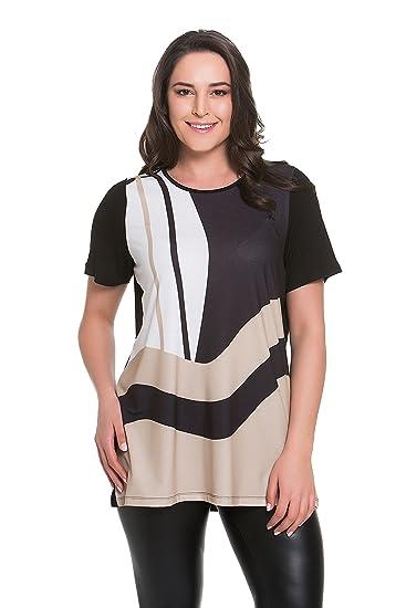 efe57214761 Tops & Plus Women's Plus Size Curvy Stripes Tunic - BLACK at Amazon ...