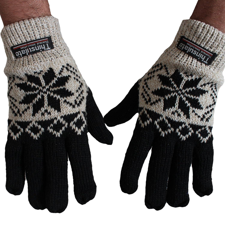 BRUBAKER Herren Thinsulate Fingerhandschuhe Norweger Motiv gefüttert