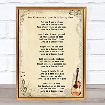 Amy Winehouse Love Is A Losing Game Song Lyric Vintage Quote Print