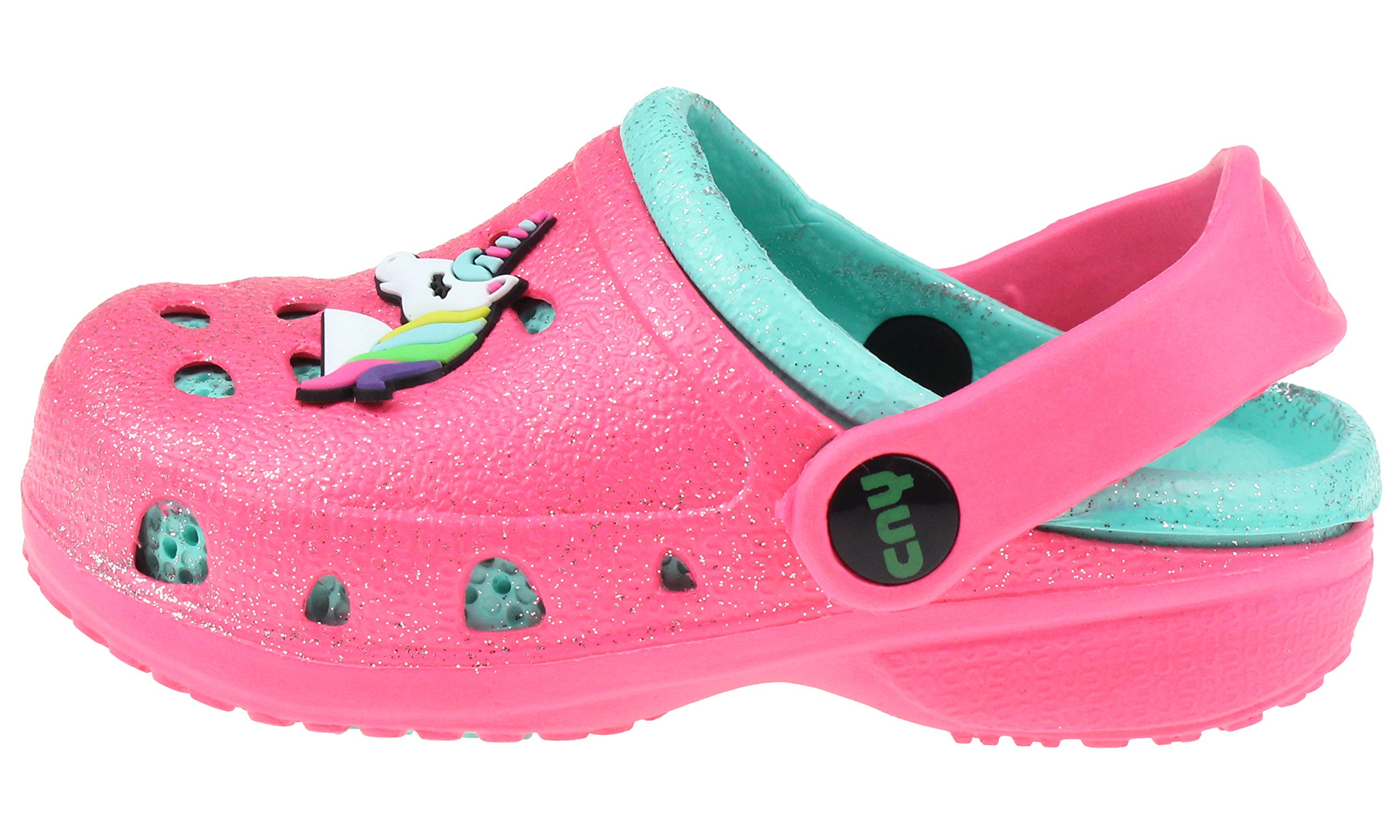 Capelli New York Toddler Girls Allover Glitter Clog with Unicorn Jelly Patch Pink 6/7 by Capelli New York (Image #2)