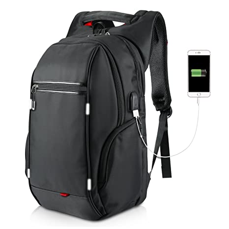 eb8bd132a656 LeTabow Water Resistant Polyester Laptop Backpack with USB Charging Port  Business School Bookbag Travel Bags Fits