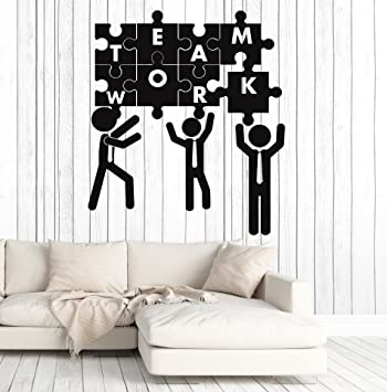 Amazon Vinyl Wall Decal Teamwork Puzzle Office Decoration Team Best Office Furniture Team Decoration
