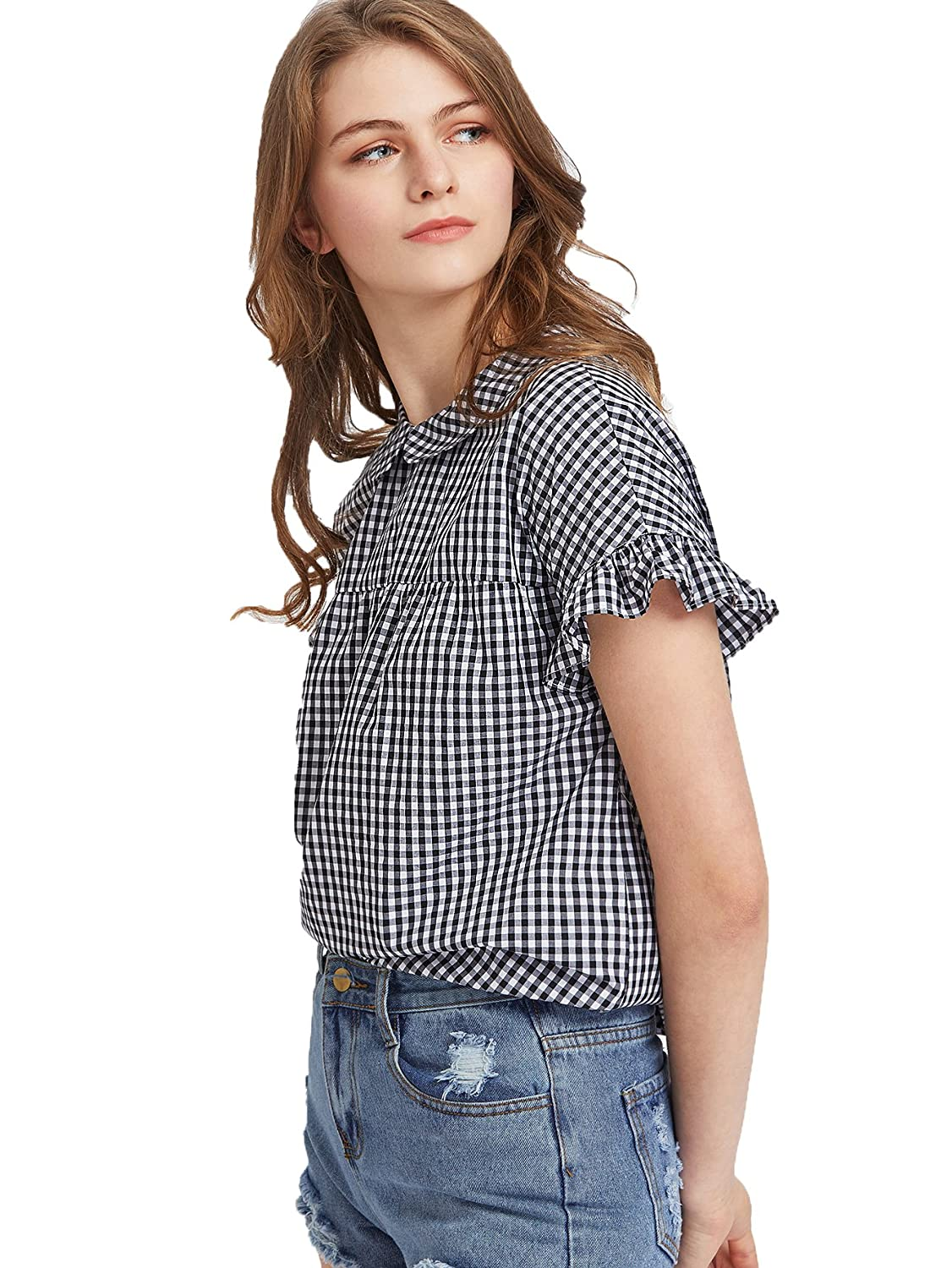 01020260c6 SheIn Women's Cute Striped Peter Pan Collar Short Sleeve Babydoll Blouse Top:  Amazon.ca: Clothing & Accessories