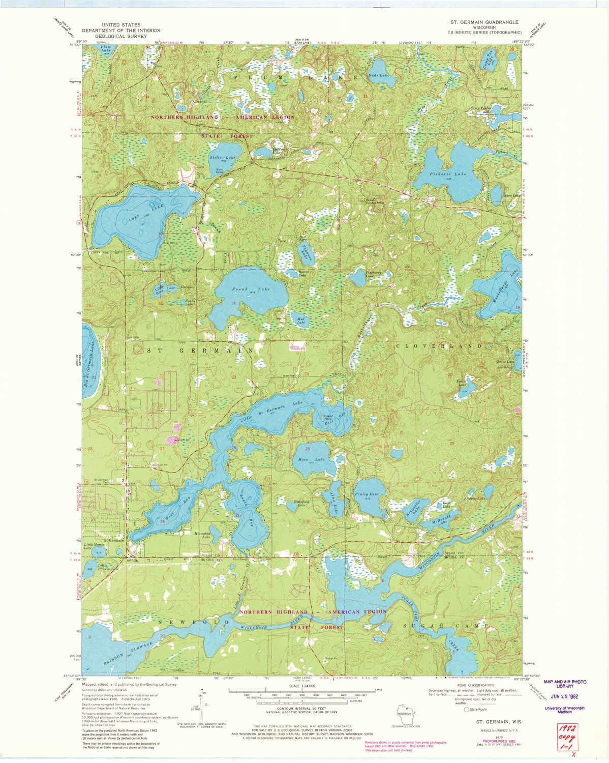 Historical Updated 1982 27.56 x 22.01 in 7.5 X 7.5 Minute 1:24000 Scale YellowMaps St Germain WI topo map 1970