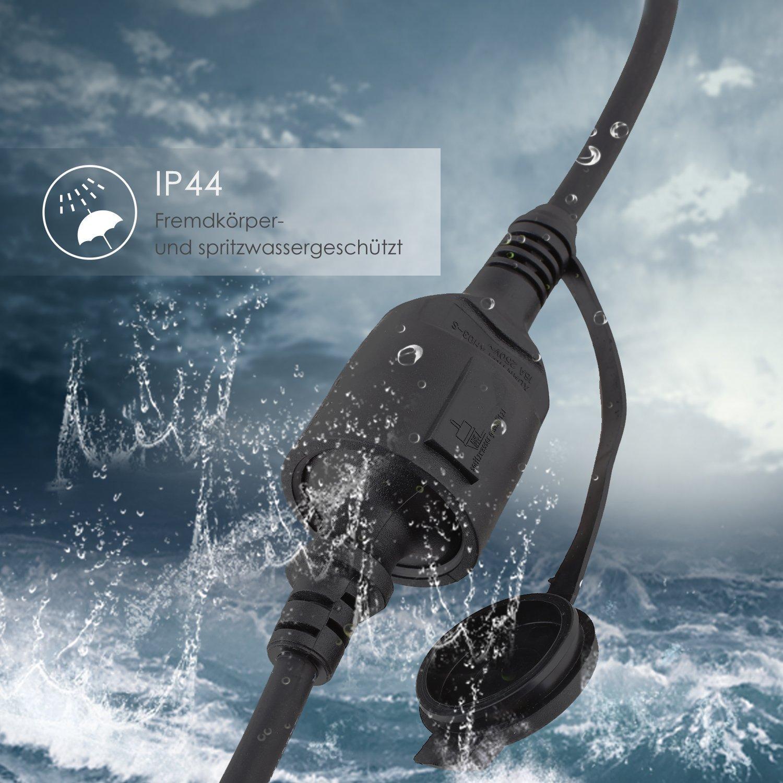 IP44 C/âble H07RN-F 3G de 1,5/mm 10m noir Simbr C/âble de rallonge schuko en caoutchouc pour lext/érieur