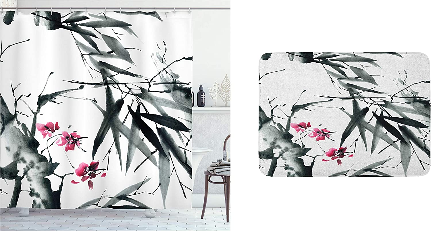 Ambesonne Japanese Shower Curtain & Bath Mat Bundle, Natural Bamboo Stems Cherry Blossom Japanese Inspired Folk Print, Set of 2 with a Bathroom Drape and Plush Mat for Decor, Green Fuchsia