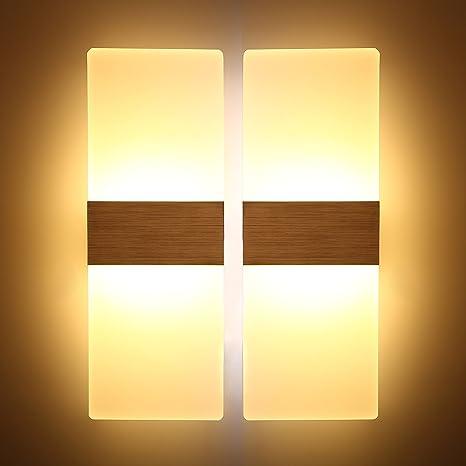 Topmo 2 pezzi 12W Lampada da parete a LED applique ideale per Camera ...