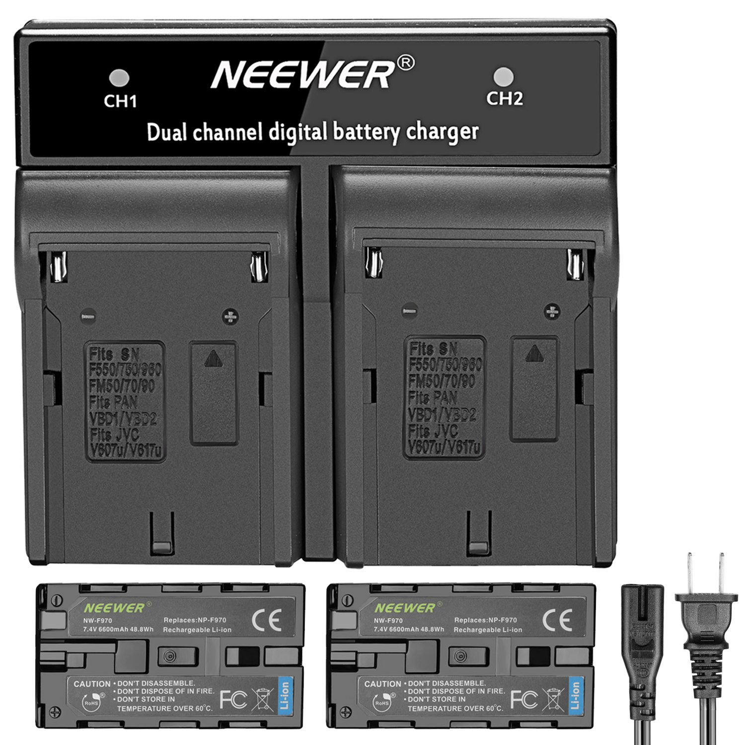 Neewer 2-Pack 6600mAh Replacement Battery with Charger(US Plug)forSony NP-F970 NP-F960 NP-F975 NP-F570 NP- F750 NP-F770, Suitable for Neewer CN160 NW759 74K 760, FW759 74K 760 LED Video Light, Monitor by Neewer