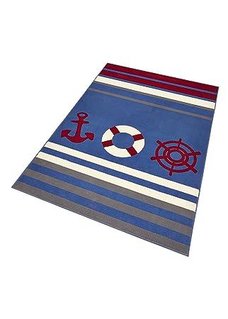 HANSE Home 102396 Teppich, Polypropylen, blau/rot/creme, 140 x 200 x ...