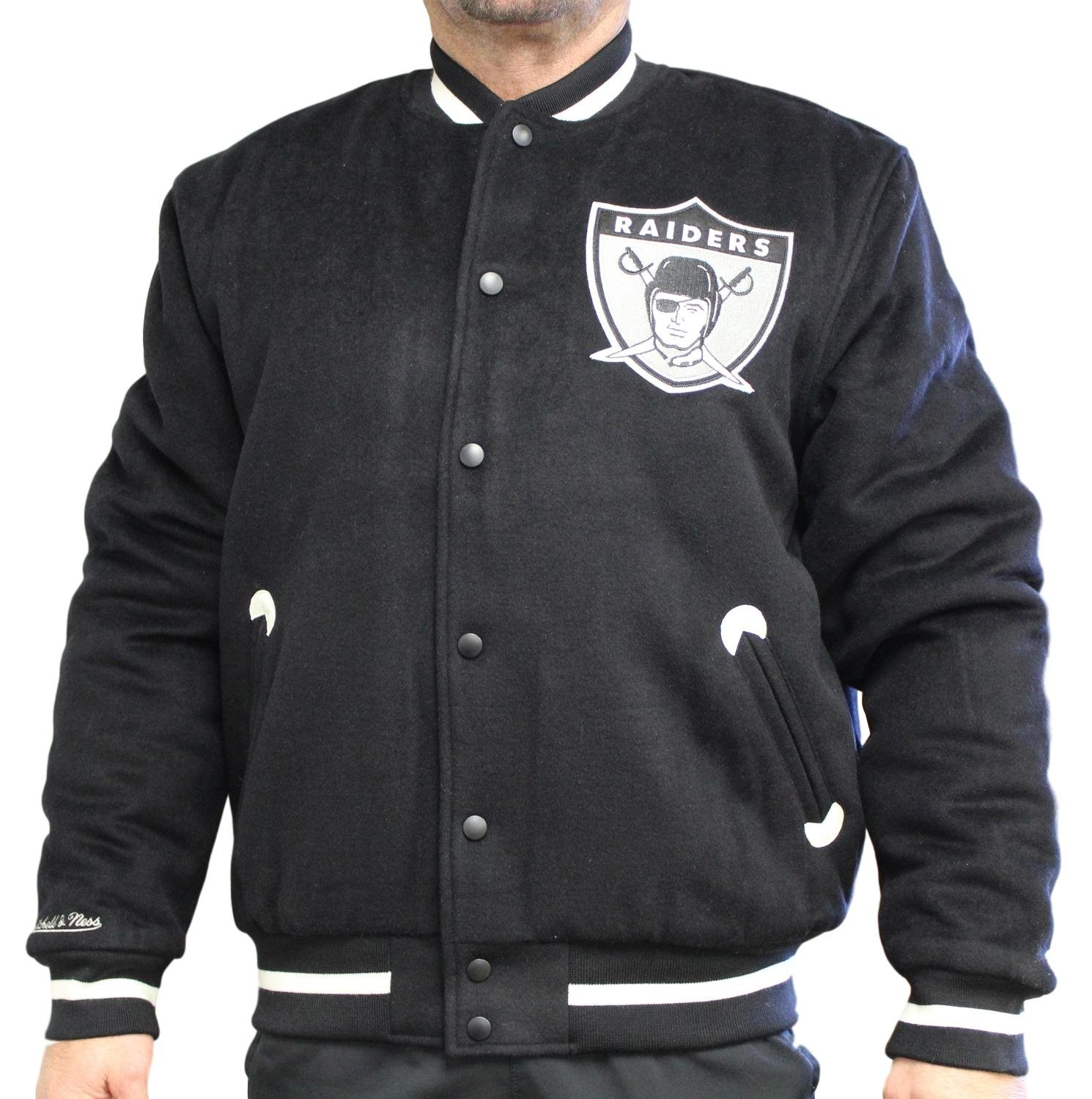 eaf5f6d0 Mitchell & Ness Oakland Raiders NFL in The Stands Premium Varsity Jacket