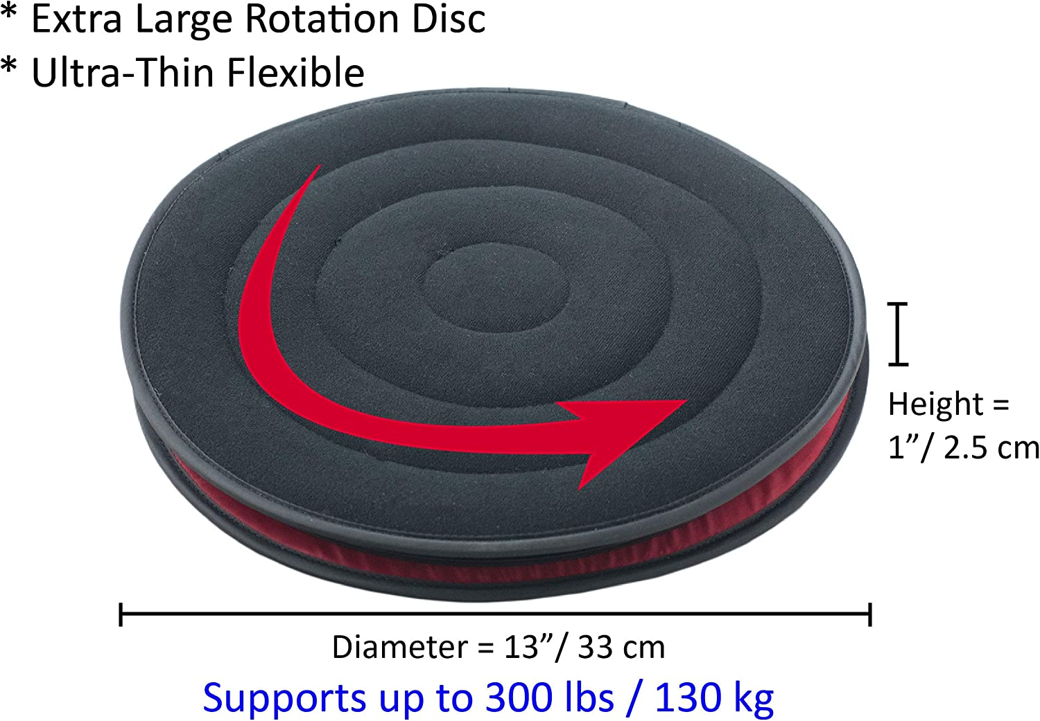 """ObboMed SS-2720 360/° Rotation Lightweight Flexible Ultra-Thin Swivel Seat Cushion with Synthetic Leather Base Easy Movement for Tailbone Pain Suffers 15/"""" x 1/"""" Special Fit for Car Seat 38 x 2.5 cm"""