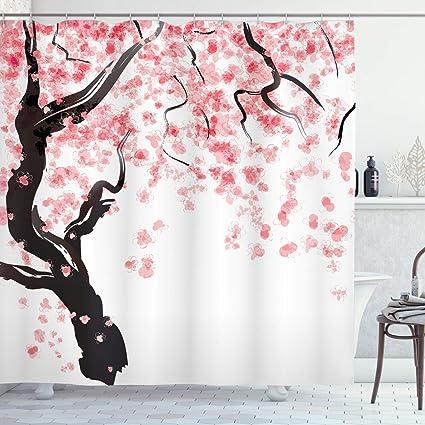 xwwnzdq Tenda da Doccia Rosa Cherry Blossom per Ganci da Bagno Tende Floreali Sakura-L90cmxH180cm