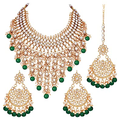2019 Fashion Green Bead Ethnic Indian Bollywood Party Wear Women Kundan Necklace Jewelry Setj Fashion Jewelry Jewelry & Watches