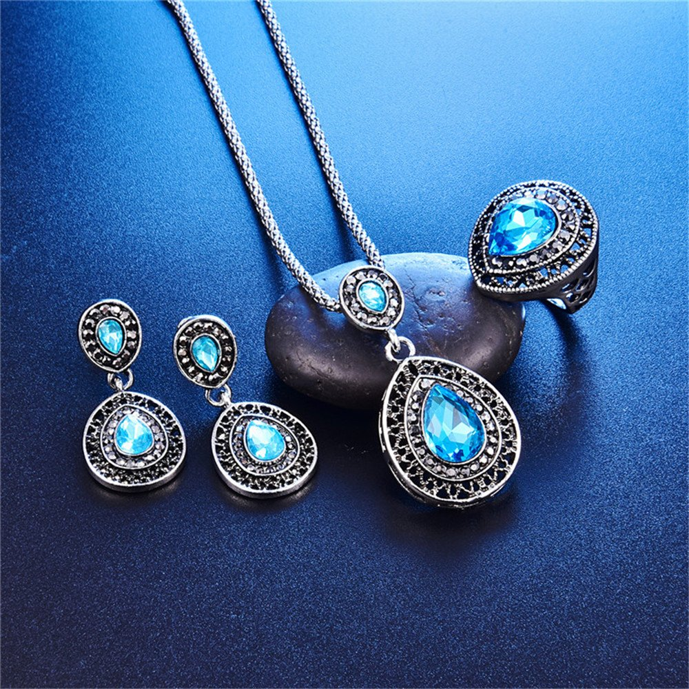 LUYUAN JEWELRY Women Crystal Pendant Silver Plated Chain Necklace Drop Earring Ring 3 PCS Jewelry Set 2 Colors - Blue+Ring#7