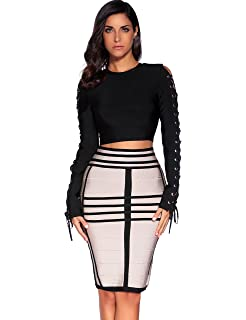 0b0d23681d Whoinshop Women's Long Sleeves Crop Top Midi Skirt Outfit Two Pieces ...
