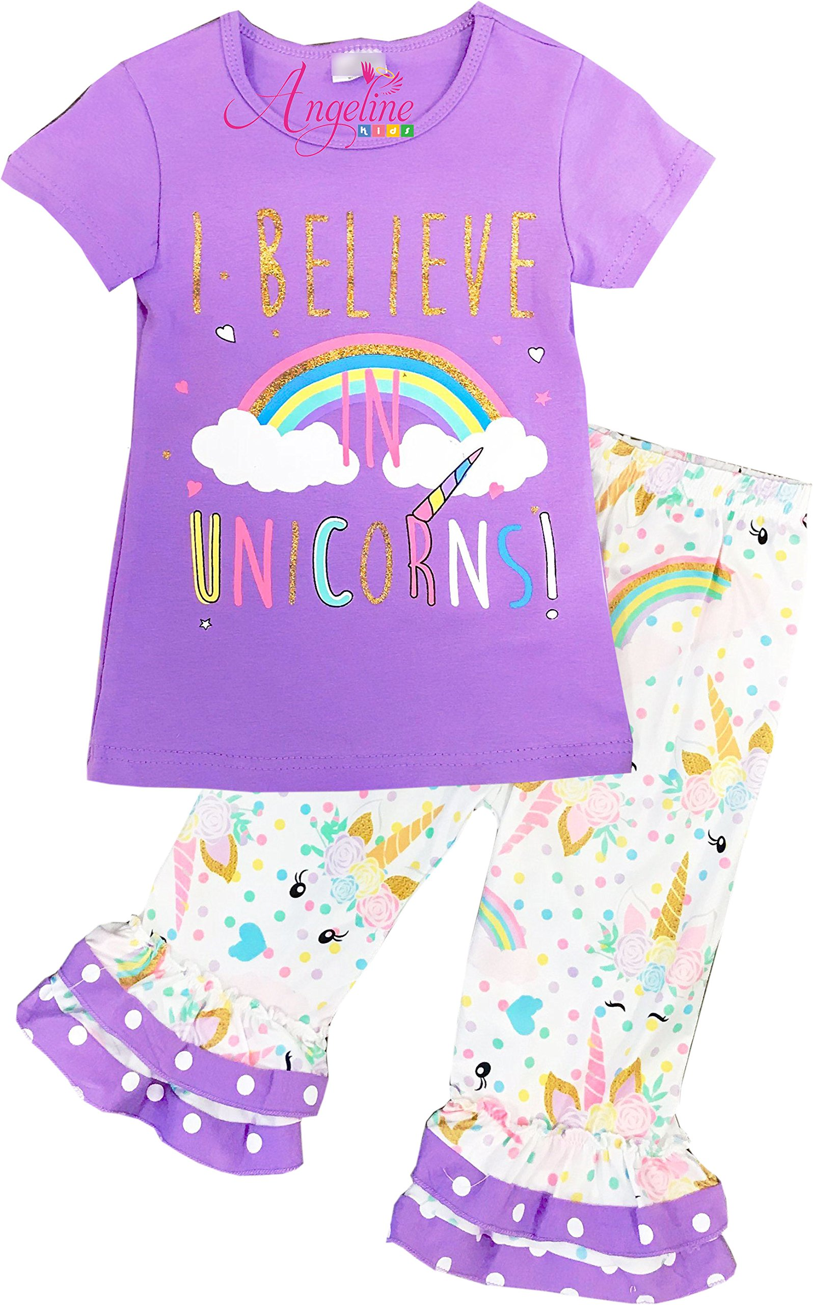 Boutique Clothing Girls Spring Summer I Believe in Unicorn Capri Set 5/XL
