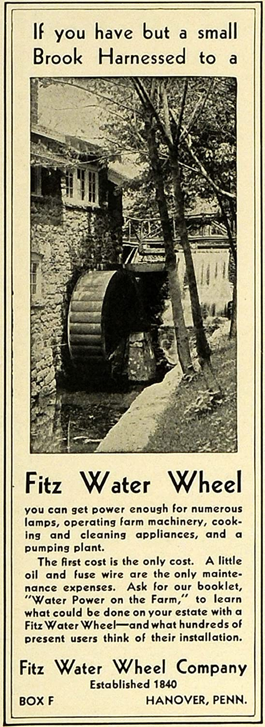 1932 Ad Fitz Water Wheel Co Power Operating Pumping Farm Fuse Box Equipment Hanover Vintage Original Print Entertainment Collectibles