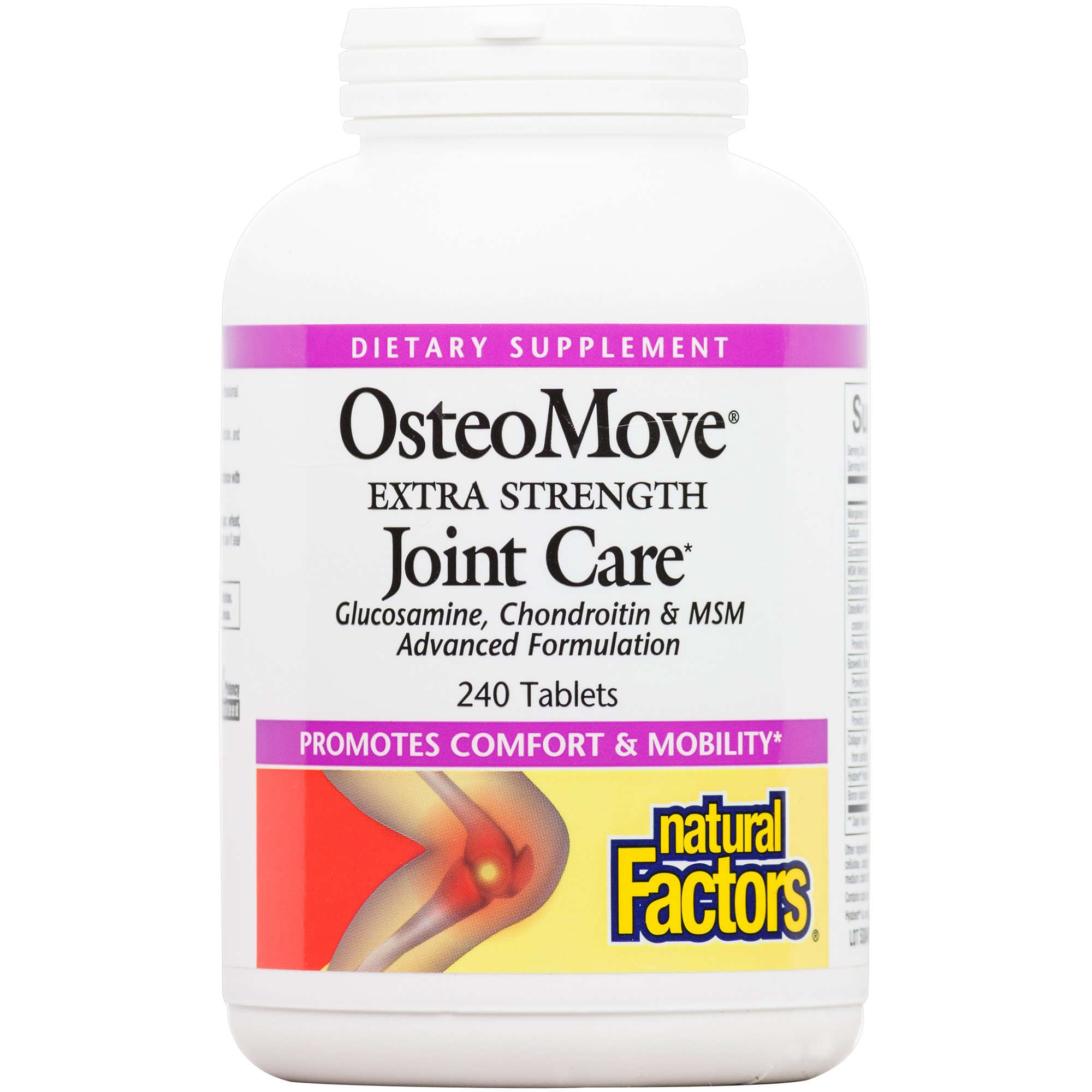 Natural Factors, OsteoMove Extra Strength Joint Care, Supports Healthy Muscles and Cartilage with Glucosamine, Chondroitin and MSM, 240 Tablets (120 Servings)