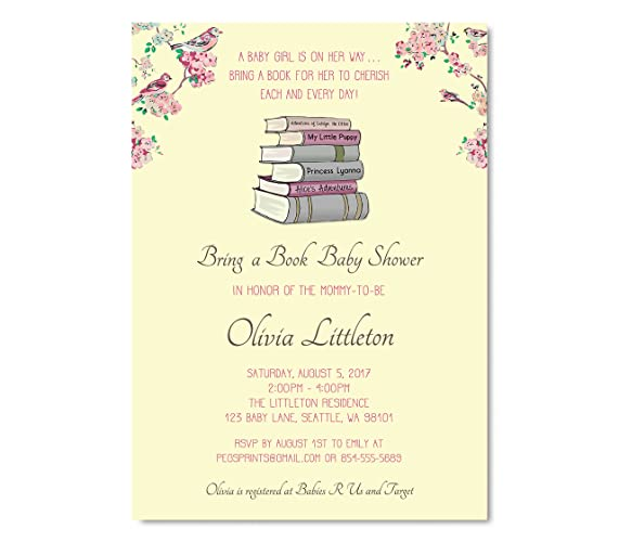 Amazon Bring A Book Baby Shower Invitation Storybook Baby