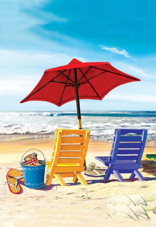 """Briarwood Lane A Day at The Beach Summer Garden Flag Beach Chairs Umbrella 12.5"""" x 18"""""""