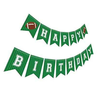 Silvima Football Birthday Banner | Football Theme Happy Bday Bunting Sign, Football Party Decoration: Toys & Games