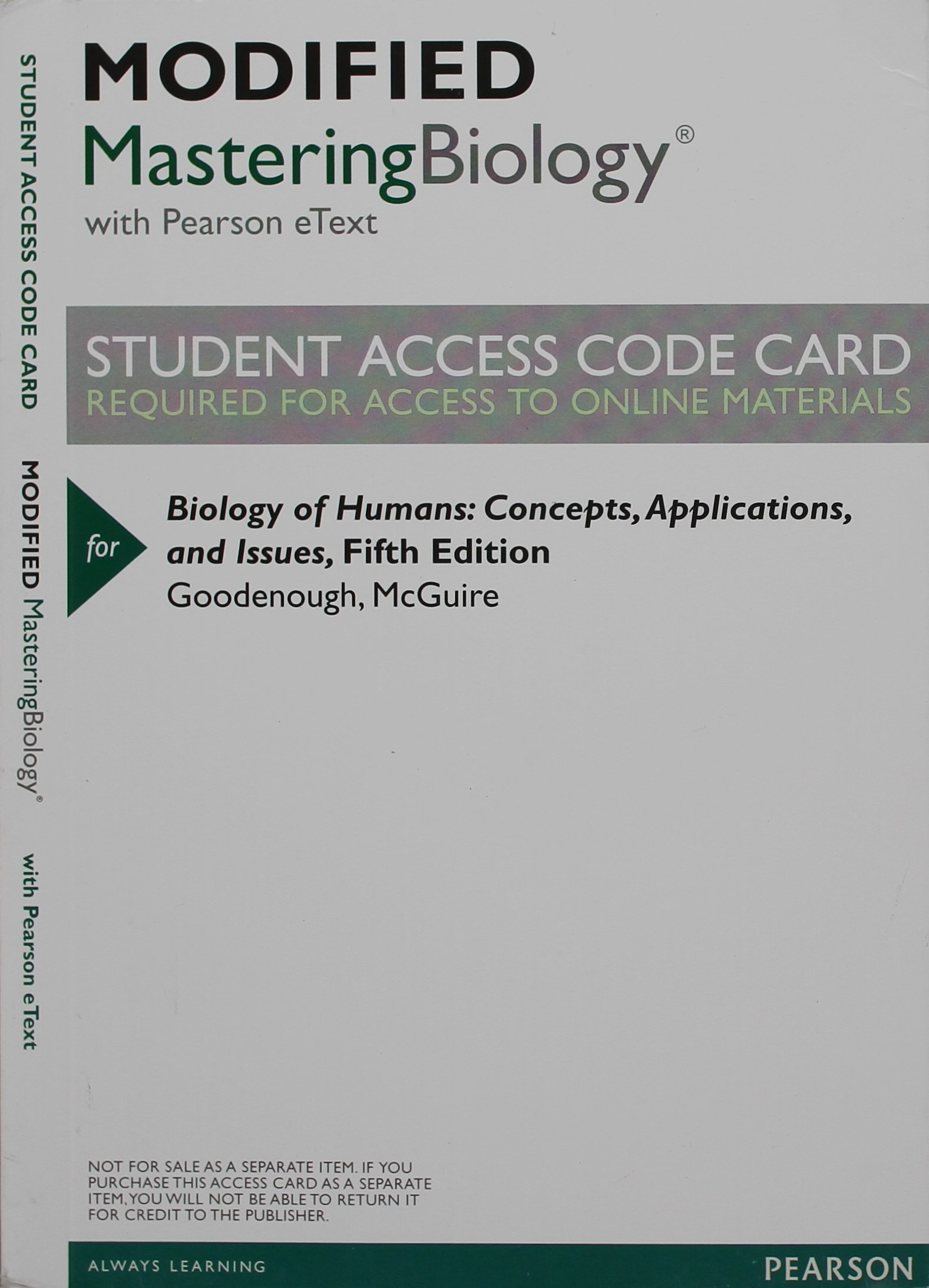 New MasteringBiology with Pearson Etext -- Valuepack Access Card -- for Biology of Humans: Concepts, Applications, and Issues pdf epub