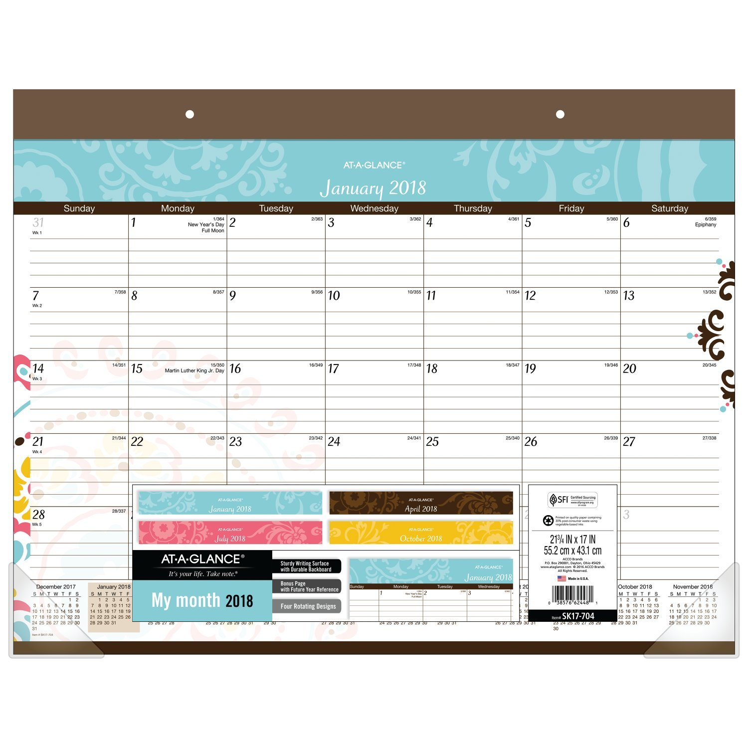 "AT-A-GLANCE Monthly Desk Pad Calendar, January 2018 - December 2018, 21-3/4"" x 17"", Suzani (SK17-704)"