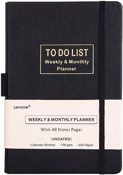 A5 Agenda/Planner - Académico Planificador Semanal, Mensual y Anual sin Fecha con To-Do List. Papel Grueso Para Lograr sus Objetivos, 5.75