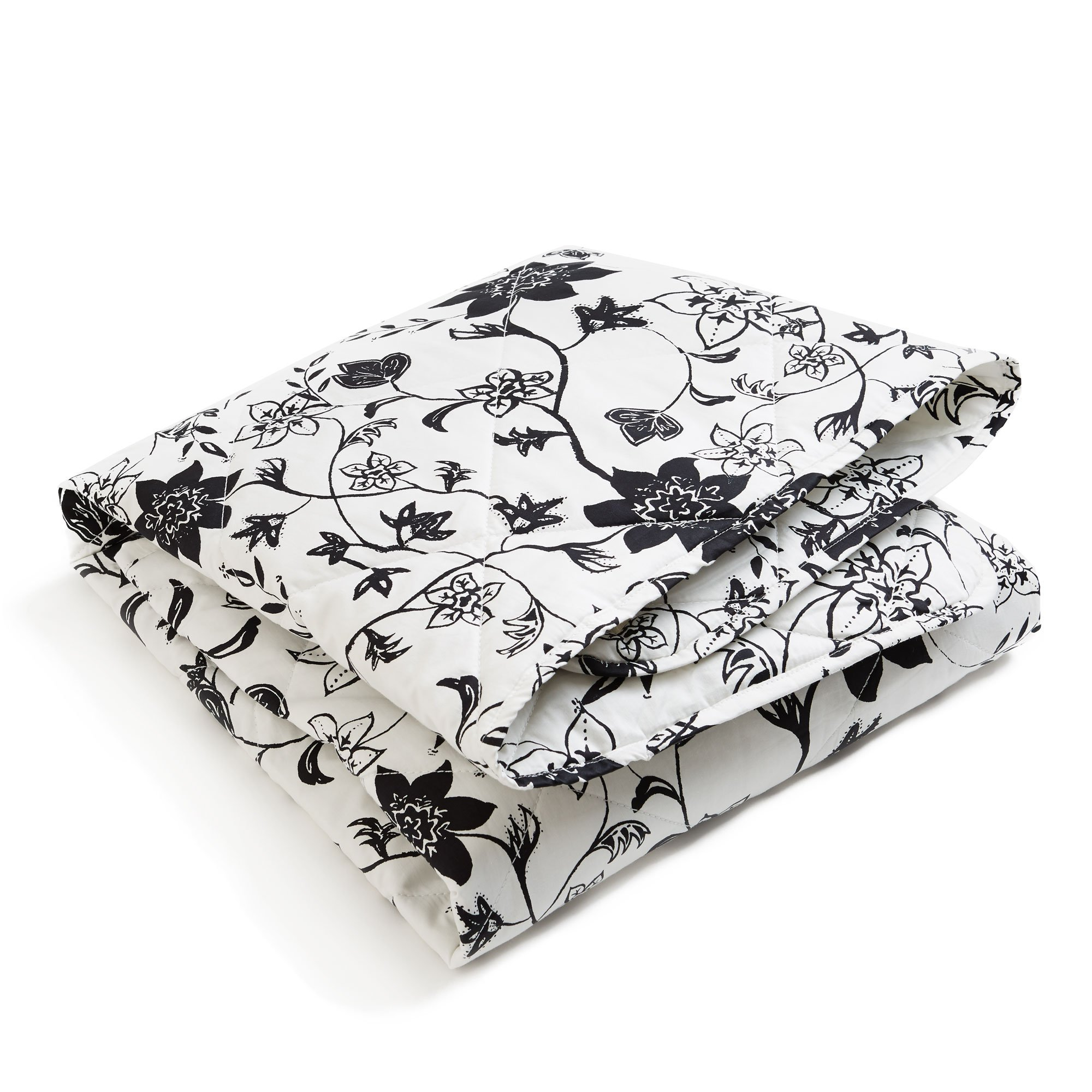 Brooklyn Born Organic Quilt - Modern Floral, Black/White, One Size