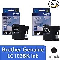 Brother Genuine LC103BK High Yield XL Black Ink Cartridge - 2 Pack