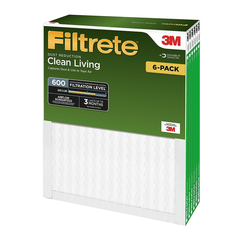 Filtrete 16x25x1 6-Pack DR01-6PK-1E MPR 600 AC Furnace Air Filter Clean Living Dust Reduction