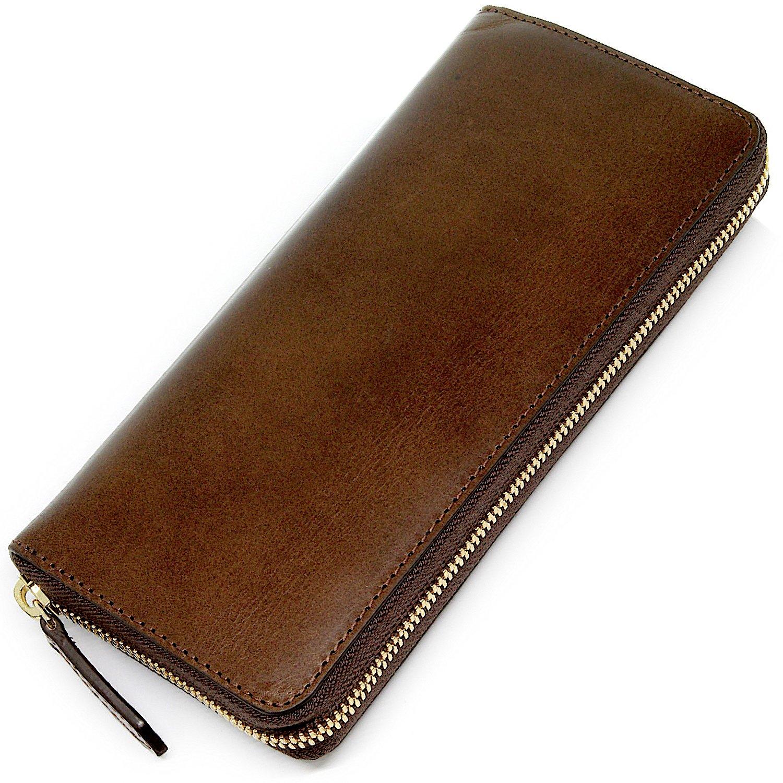 Eredità 革の王様 ブッテーロレザーで製作した ラウンドファスナー 長財布 メンズ YKKエクセラ 日本製 全4色 WL10 B074KCXDTL ダークブラウン ダークブラウン