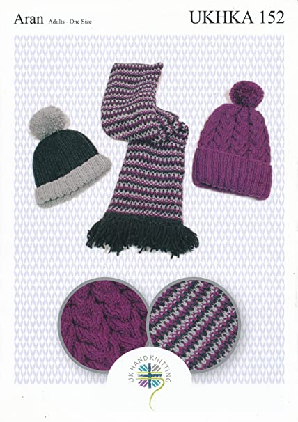 Aran Knitting Pattern For Ladies Ribbed Or Cabled Pom Pom Hat