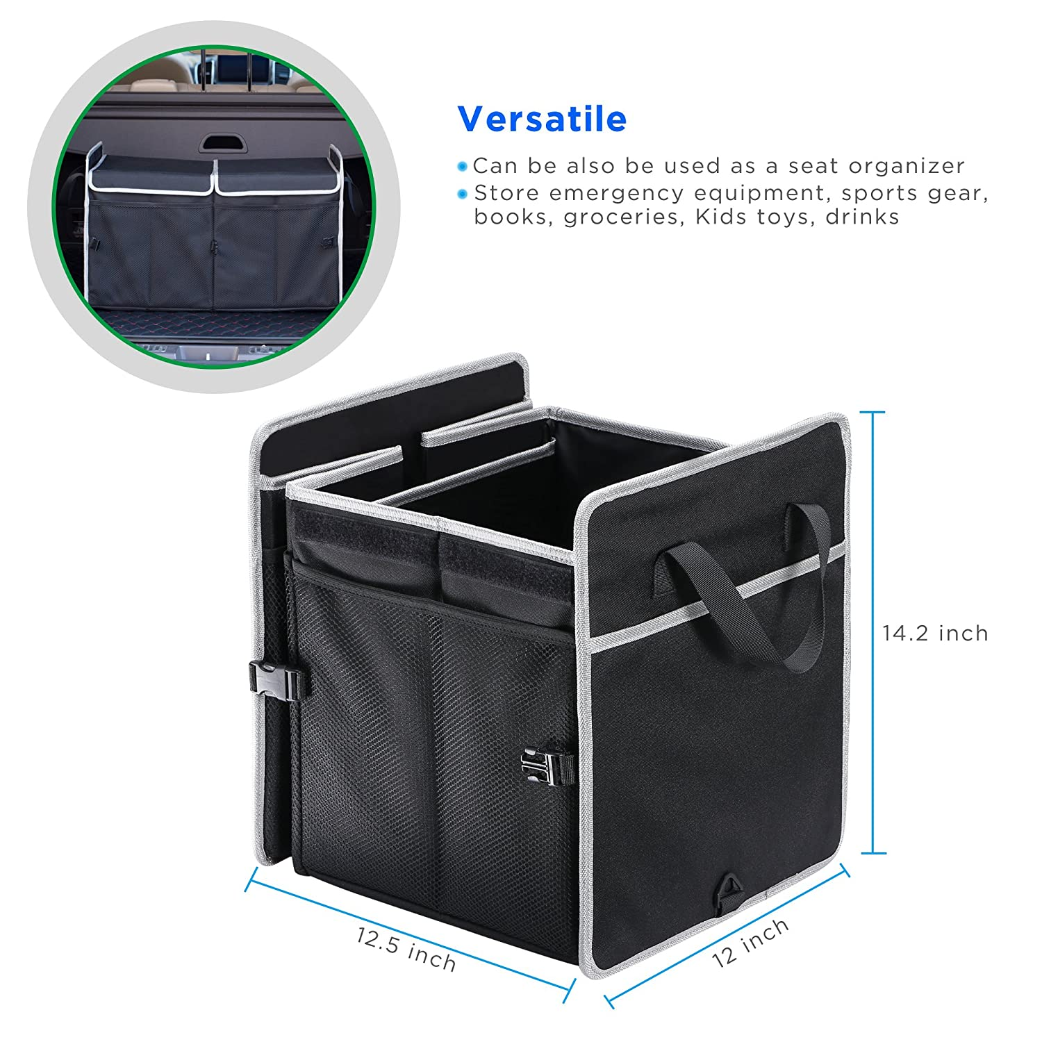 Collapsible Expandable Cargo Storage Container for SUV,Car,Truck,Van,RV,Home,Camping,with Anti-Slip Bottom/&Cover Famistar Large Car Trunk Organizer