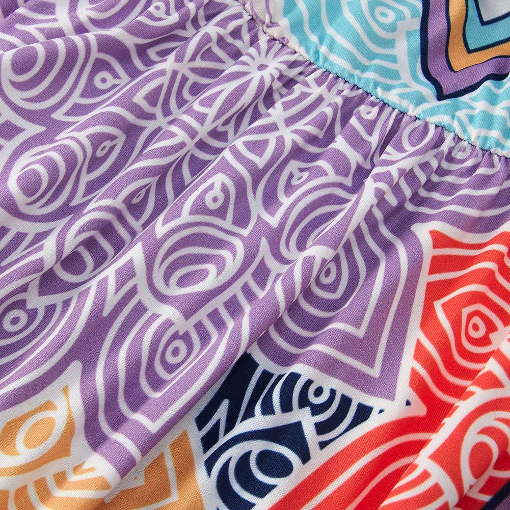 Spreadhoodie Women Sleeveless Beach Dress Summer Cross V Neck Adjustable Spaghetti Straps Bohemia Floral Flared Swing Dress Beach Sundress with Pockets S-XL