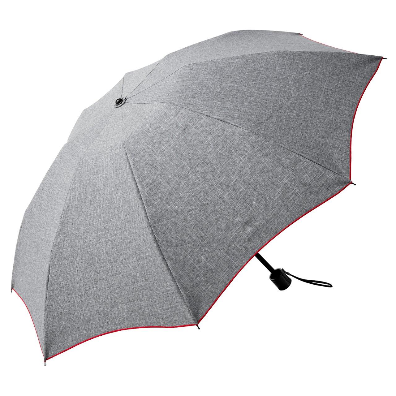 【Rose Blanc】100%完全遮光 日傘 晴雨兼用 プレーン 3段折りたたみ ダンガリー(傘袋付) 50cm (ダンガリーグレー×レッドステッチ) B06XST5FLMダンガリーグレー×レッドステッチ