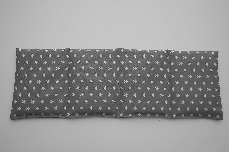 K/örnerkissen Bio-Roggen 4-Kammern 50cm x 17cm grau mit wei/ßen Sternen
