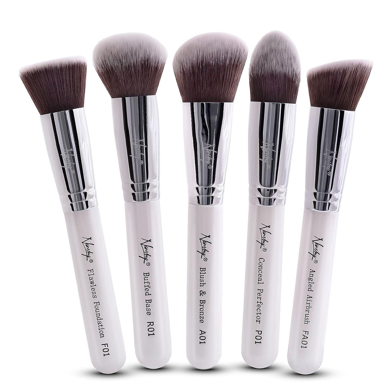Nanshy 5 Piece Kabuki Makeup Brush Set - Face Application Contouring Blending Liquids Creams Mineral Powders -Pearlescent White Kit FB-SET-002